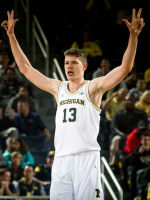 Moritz Wagner makes a 3-pointer against Mount St. Mary's on Saturday.