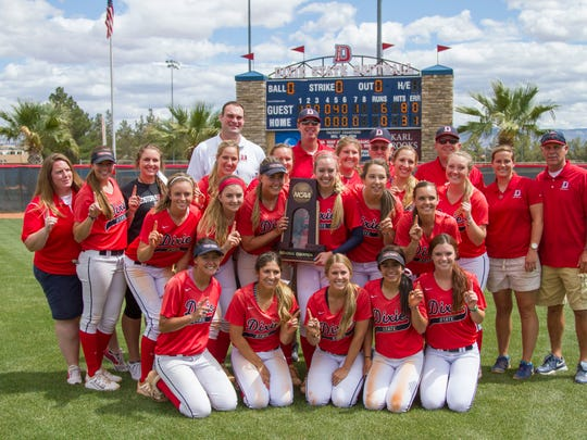 Dixie State softball celebrates winning the West Region Championship with a 6-0 victory over Sonoma State on Saturday, May 16, 2015 in St. George.