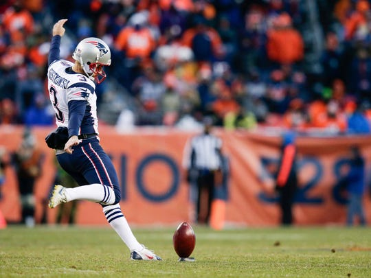 Dec 18, 2016; Denver, CO, USA; New England Patriots kicker Stephen Gostkowski (3) kicks the ball in the third quarter against the Denver Broncos at Sports Authority Field at Mile High. Mandatory Credit: Isaiah J. Downing-USA TODAY Sports