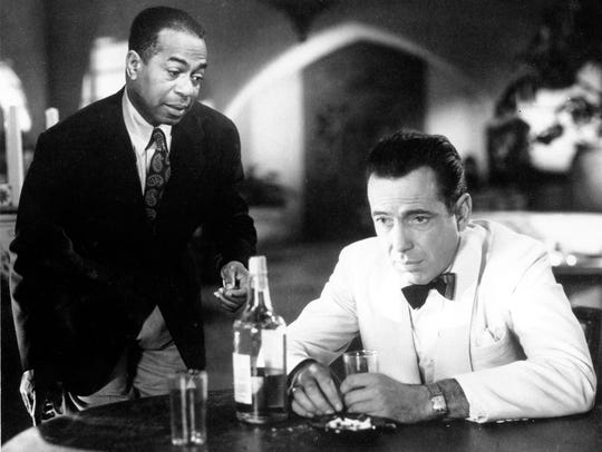 Humphrey Bogart, right, as Rick and Dooley Wilson as