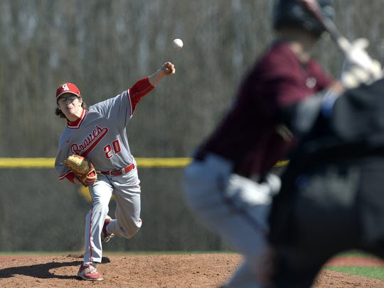 Canandaigua's Michael Sculli, shown delivering a pitch during an April doubleheader against Pittsford Mendon, has led the Braves to the state semifinals for the first time.