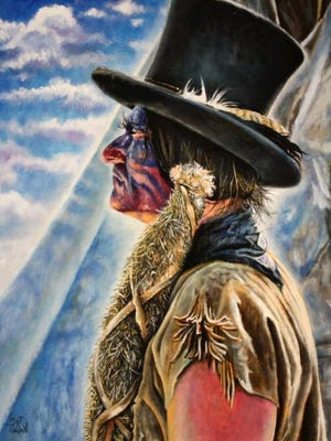 Painter Mat Tindell of Waco, who created this artwork, will be one of 60 artists at this weekend's Cowboy True at the J.S. Bridwell Agricultural Center.