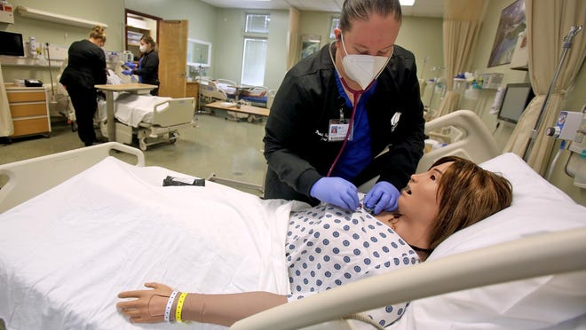 Sherry Ritchie attends class at Cleveland Community College's nursing program. [Brittany Randolph/The Star]