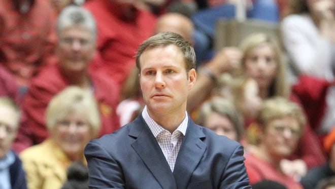 Coach Fred Hoiberg watches his team against the Oklahoma Sooners on March 2, 2015 at Hilton Coliseum in Ames.