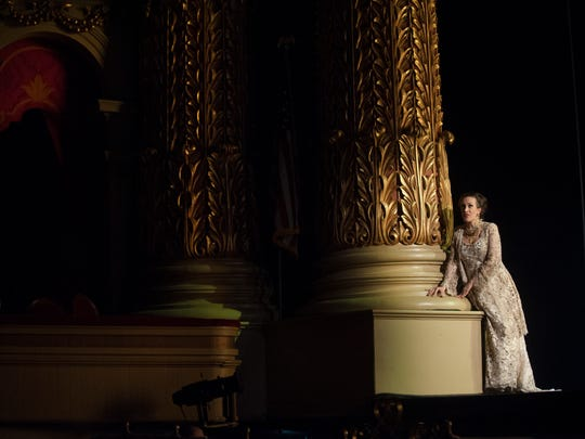 Opera Philadelphia Soprano Brenda Rae sings during a rehearsal for the opera Tancredi at the Academy of Music main stage.