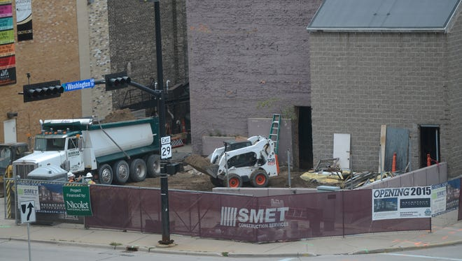 Construction continues on what will become Backstage at the Meyer at the corner of Walnut Ave. and Washington St.
