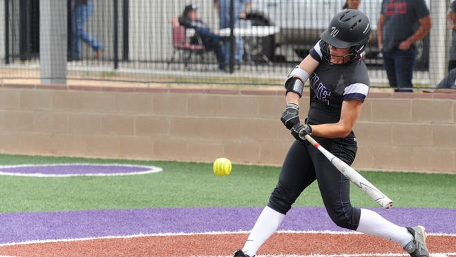 Wylie's Kaylee Philipp (3) hits a leadoff single during the Lady Bulldogs' District 5-4A finale against Sweetwater on Tuesday, April 17, 2018. Philipp added an RBI triple and earned the complete-game victory as Wylie held on for the 6-5 victory.