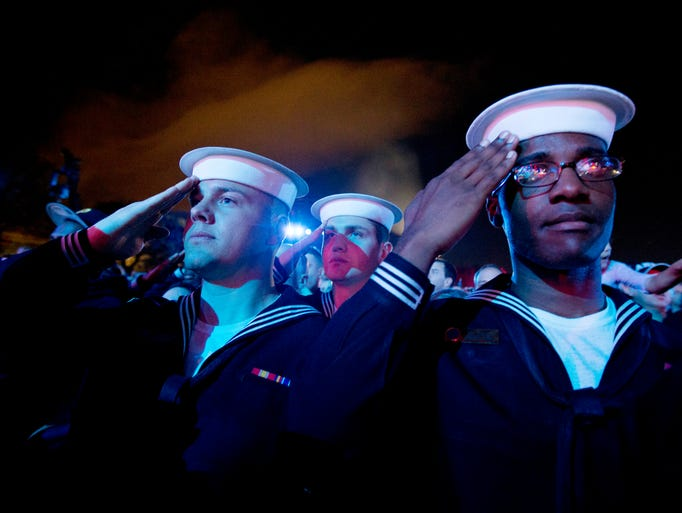 Members of the Navy Ceremonial Guard from left, Jerrod