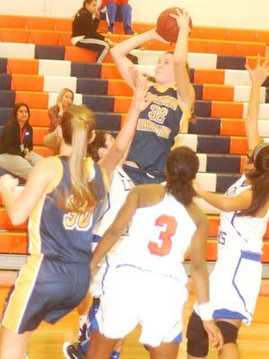 Eastern Christian sophomore center Madison Wynbeek going up for the shot against Lodi on Jan. 19.