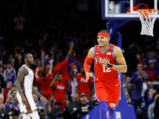 Philadelphia 76ers' Tobias Harris reacts after making a 3-pointer during the second half of an NBA basketball game against the Brooklyn Nets, Wednesday, Jan. 15, 2020, in Philadelphia. (AP Photo/Matt Slocum)