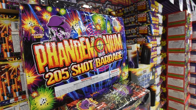 The Rockford Fire Department says complaints about fireworks being set off in the city are up more than 500% this year. In this file photo, a fireworks package is displayed at a Phantom Fireworks outlet in Pennsylvania.