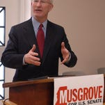 Ronnie Musgrove discusses his idea's for the U.S. Senate during his campaign stop at the Hattiesburg Library. (Photo by Ryan Moore)