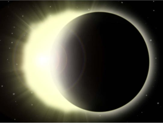 Color illustration of a solar eclipse.