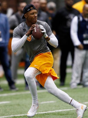 Joshua Dobbs competes during the NFL Pro Day at UT Friday, March 31, 2017 in Knoxville, Tenn.