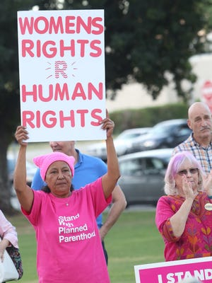 Planned Parenthood holds a support rally at Frances Stevens Park in Palm Springs.