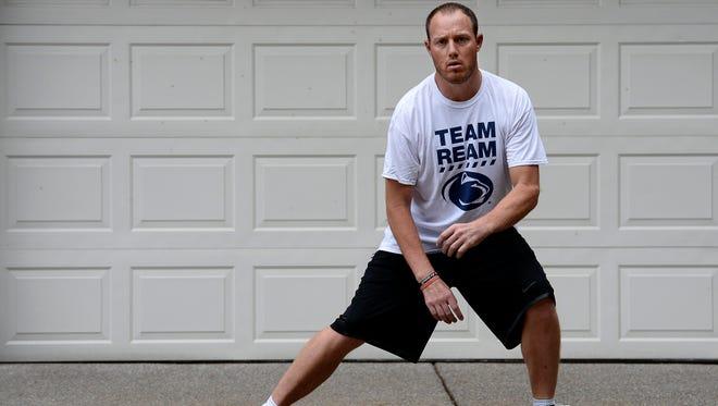 Tim Shaw exercises his leg muscles June 2, 2015, in Nashville, Tenn.