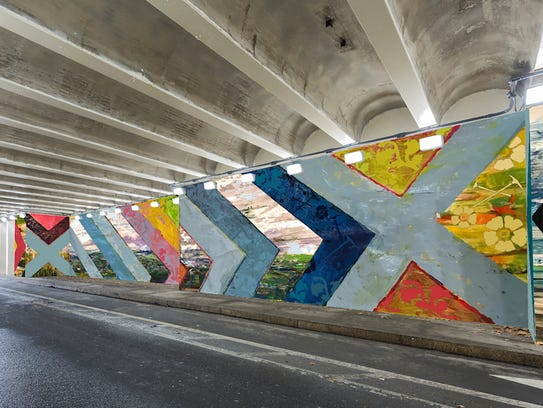 A rendering of a mural that will be installed in the 5th Street Vehicular Tunnel under the Ben Franklin Bridge n Philadelphia as it merges with city traffic . (Designed by Mat Tomezsko)