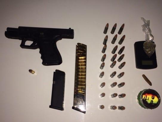 Gun, bullets and marijuana seized in a May 6 traffic