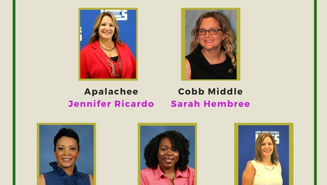 Newly appointed principals for the 2018-19 school year (from top left to bottom right): Jennifer Ricardo, Apalachee Elementary School; Sarah Hembree, Riley Elementary School; Carmen Conner, Pineview Elementary School; Taita Scott, Riley Elementary School; Lisa Mehr, Woodville Elementary School.