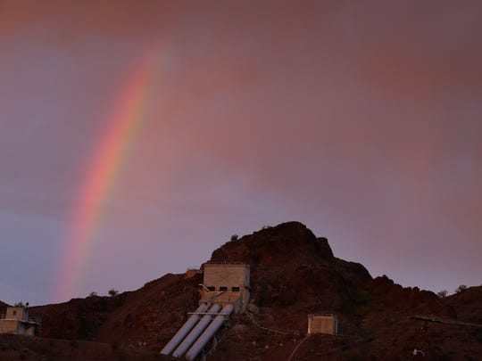 In this Thursday, Oct. 15, 2015 photo, a rainbow appears
