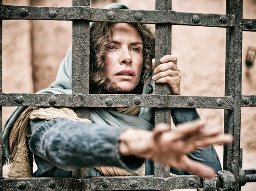 """Here are a few of TV's recent sojourns into the past: B.C. into A.D.: History's """"The Bible"""" went back to Genesis before telling the story of Jesus and Mary (Roma Downey)."""