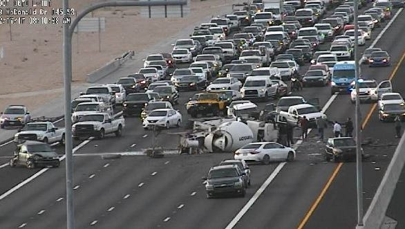 A collision involving a cement truck was blocking all northbound lanes of Loop 101 in Scottsdale on Feb. 17, 2017.