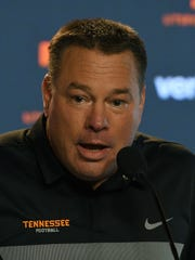 Tennessee Head Coach Butch Jones during his weekly media availability Monday, Sep. 25, 2017.