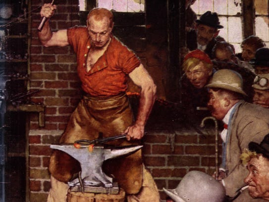 """Detail from Norman Rockwell's """"Shaftsbury Blacksmith"""