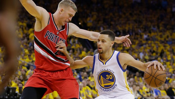 Golden State Warriors' Stephen Curry in action against