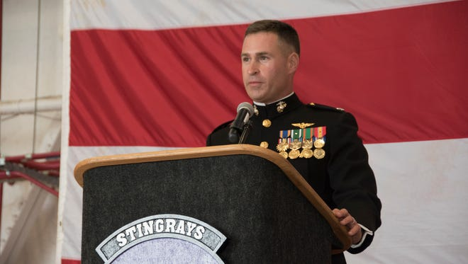 Lt. Col. Michael Murphy delivers remarks during a change of command ceremony Thursday. Murphy is the new commanding officer of Training Squadron Three Five.