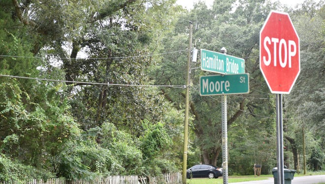 The intersection of Hamilton Bridge Road and Moore Street in Milton on Tuesday, Aug. 22, 2017. The city of Milton plans to add two stops signs on Hamilton Bridge Road at the intersection, as well as at two other locations on Berryhill Road to control speeding in the area.