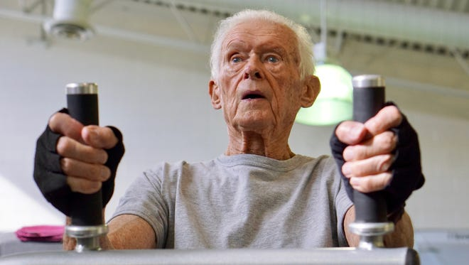 Gerry Duxbury, 91, works out at the Y to stay in shape. The agile, WWII Navy veteran says he'll keep working out for as long as he can, which looks to be a long time yet.