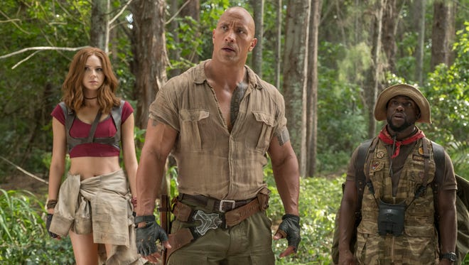 'Jumanji,' with Karen Gillan, from left, Dwayne Johnson and Kevin Hart, is again No. 1.