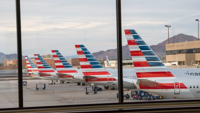 American Airlines at the gate at Phoenix Sky Harbor International Airport. Nearly 77 percent of 39 trips by Surprise politicians, city managers, the city attorney and economic developers exceeded the federal max lodging rate.