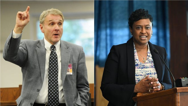 School districts are asking Buncombe County commissioners for a budget increase next fiscal year. Pictured left is Buncombe County Schools Superintendent Tony Baldwin. Asheville City Schools Superintendent Denise Patterson is on the right.