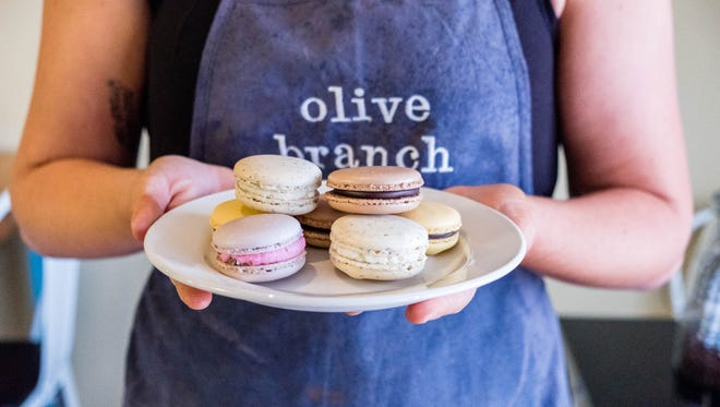 Popular for its macarons, Olive Branch bakery also offers cakes and cookie sandwiches.