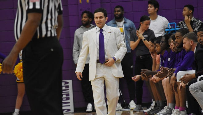 LSUA coach Larry Cordaro (center) instructs his team from the sidelines as his Generals defeated the Louisiana State University at Shreveport Pilots 112-105 in game action at The Fort Thursday, Jan. 17, 2019.