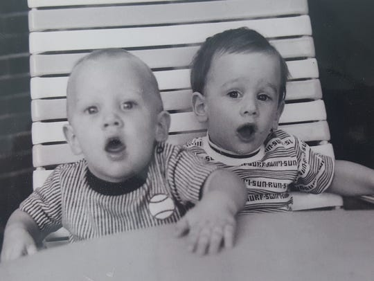 Josh (left) and Rusty Larabell as young children. Rusty Larabell was a sophomore at Naples High School when he died from a brain aneurysm after a junior varsity football game in October 1998.