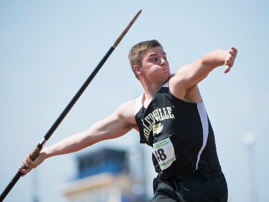 Biglerville's Ben Hurda competes in the boys AA javelin
