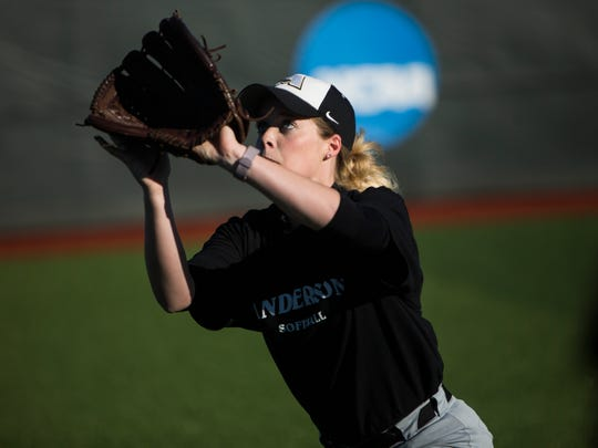 Courtney Czentnar catches the ball during a drill at AU's softball practice, on Thursday, January 26, 2017 in Anderson.