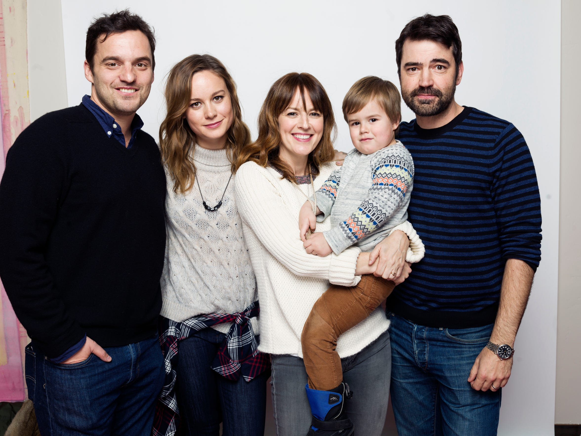 """Jake Johnson, from left, Brie Larson, Rosemarie DeWitt, Jude Swanberg and Ron Livingston pose for a portrait to promote the film, """"Digging for Fire"""", at the Eddie Bauer Adventure House during the Sundance Film Festival on Monday, Jan. 26, 2015, in Park City, Utah. (Photo by Victoria Will/Invision/AP)"""