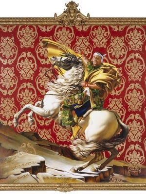 Kehinde Wiley, Napoleon Leading the Army over the Alps, 2005. Oil on canvas. Brooklyn Museum, Partial gift of Suzi and Andrew Booke Cohen in memory of Ilene R. Booke and in honor of Arnold L. Lehman, Mary Smith Dorward Fund, and William K. Jacobs, Jr. Fund.