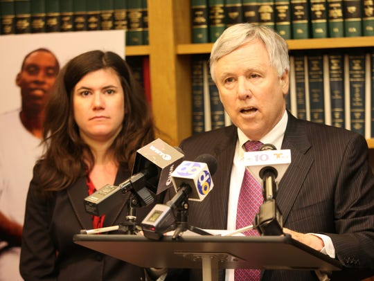 Lawyer Thomas Crumplar during a press conference in