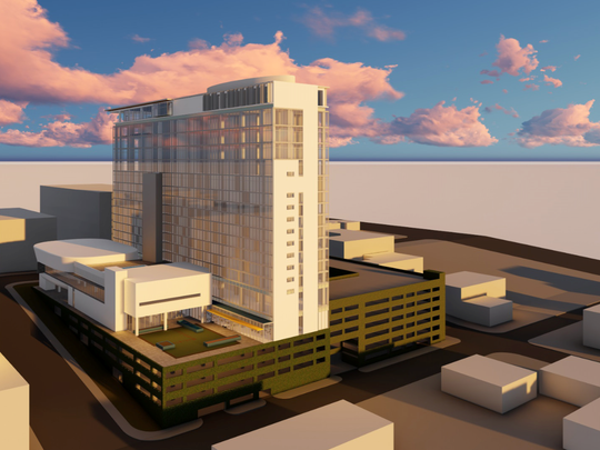 Early renderings of the proposed Washington Square project at 227 S. Calhoun St.