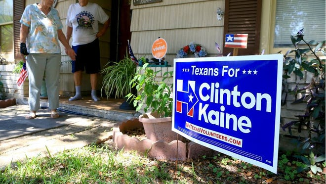 GABE HERNANDEZ/CALLER-TIMES A Hillary Clinton sign is posted at the home of the McDaniels on Sept. 28, 2016, in Corpus Christi.