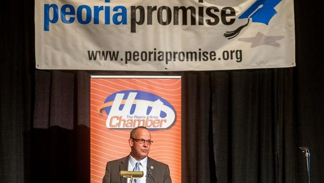 Peoria Mayor Jim Ardis gives the annual State of the City address earlier this year at the Peoria Civic Center. Peoria Promise, a college grant program, was among Ardis' accomplishments.