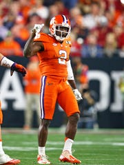 Clemson Tigers cornerback Mackensie Alexander (2) reacts against the Alabama Crimson Tide in the 2016 CFP National Championship at University of Phoenix Stadium. Mandatory Credit: Mark J. Rebilas-USA TODAY Sports