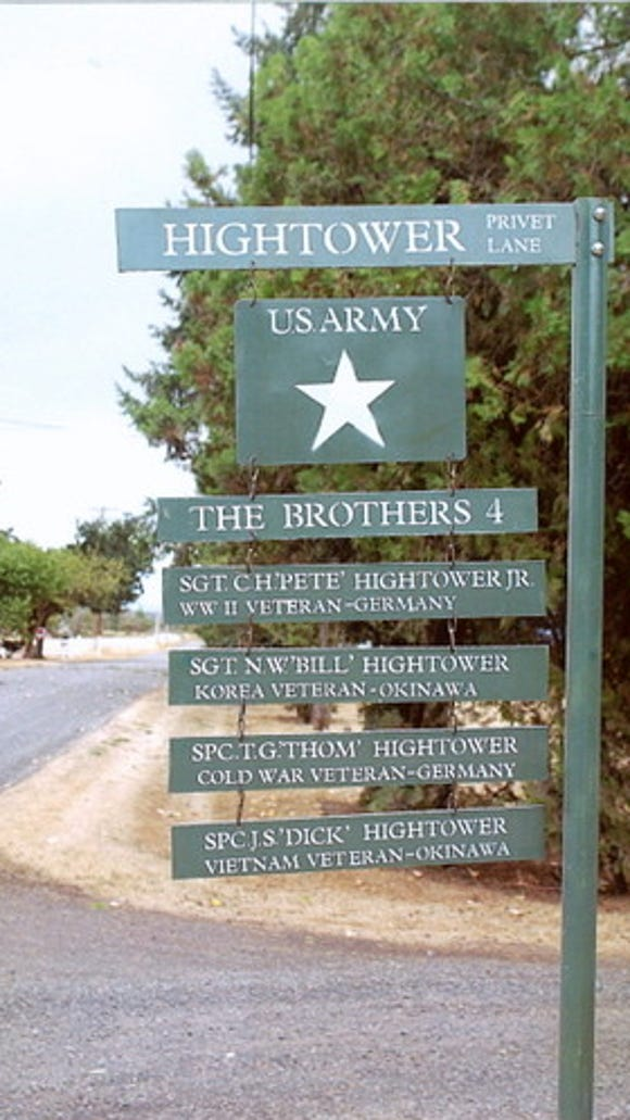 Jim Hightower made this sign to honor the military service of four brothers.