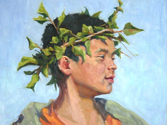 """The Leaf King"" – oil on wood. 26-by-26 inches – is fresh off the easel of artist Kelly Sullivan."