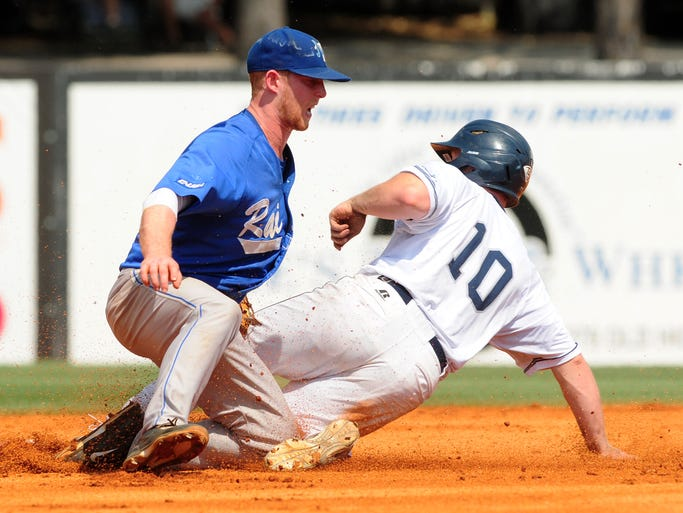 Middle Tennessee's Hank LaRue (5) tags Old Dominion's Brian Beard (10) at second base Friday as the two teams face off in an elimination game on the third day of the Conference USA baseball tournament at Pete Taylor Park.